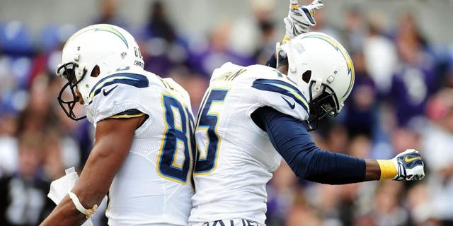 Nov 1, 2015; Baltimore, MD, USA; San Diego Chargers wide receiver Malcolm Floyd (80) is congratulated by wide receiver Dontrelle Inman (15) after scoring a touchdown in the third quarter against the Baltimore Ravens at M&T Bank Stadium. Mandatory Credit: Evan Habeeb-USA TODAY Sports