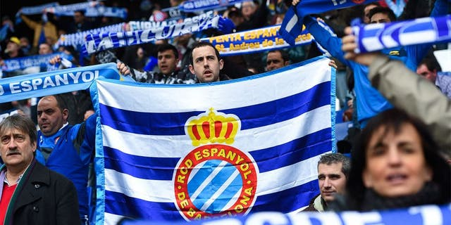 BARCELONA, SPAIN - MARCH 14: RCD Espanyol supporters cheer up their team prior to the La Liga match between RCD Espanyol and Club Atletico de Madrid at Power 8 Stadium on March 14, 2015 in Barcelona, Spain. (Photo by David Ramos/Getty Images)