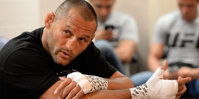 NEW ORLEANS, LA - JUNE 06: Dan Henderson gets his hands wrapped in his locker room during the UFC event at the Smoothie King Center on June 6, 2015 in New Orleans, Louisiana. (Photo by Mike Roach/Zuffa LLC/Zuffa LLC via Getty Images)