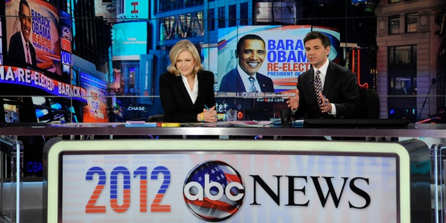 Nov. 7, 2012: This photo released by ABC shows Diane Sawyer, left, and George Stephanopoulos during election night coverage.