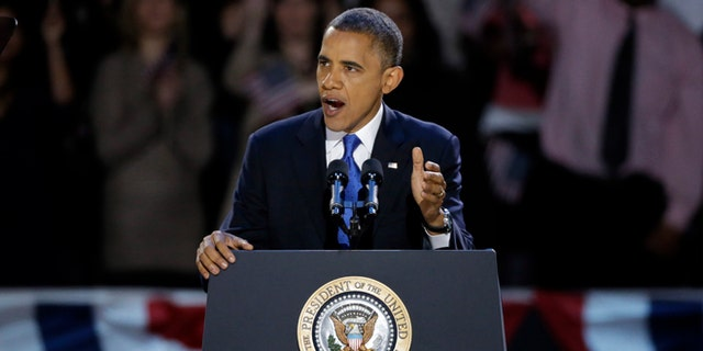Nov. 7, 2012: President Barack Obama speaks at his election night party  in Chicago.