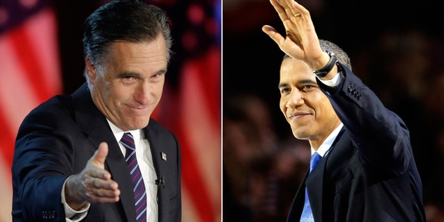 Nov. 7, 2012: Republican presidential candidate, former Massachusetts Gov. Mitt Romney gestures to supporters during his election night rally in Boston, left, and President Barack Obama waves to the crowd of supporters at his election night party in Chicago.