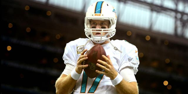 Nov 9, 2014; Detroit, MI, USA; Miami Dolphins quarterback Ryan Tannehill (17) warms up prior to the game against the Detroit Lions at Ford Field. Mandatory Credit: Andrew Weber-USA TODAY Sports