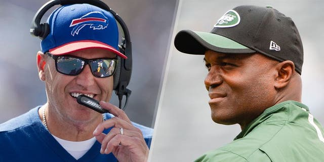 Head coach Rex Ryan of the Buffalo Bills looks on during a NFL game against the Tennessee Titans at Nissan Stadium on October 11, 2015 in Nashville, Tennessee. (Photo by Ronald C. Modra/Sports Imagery/Getty Images) Head coach Todd Bowles of the New York Jets looks on before a game against the Philadelphia Eagles at MetLife Stadium on September 27, 2015 in East Rutherford, New Jersey. (Photo by Alex Goodlett/Getty Images)