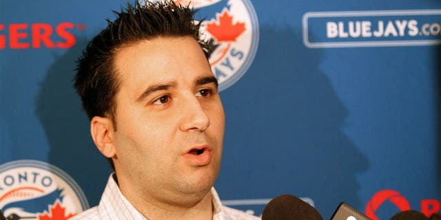 Dec 6, 2011; Dallas, TX, USA; Toronto Blue Jays general manager Alex Anthopoulos answers questions during the MLB winter meetings at Hilton Anatole. Mandatory Credit: Matthew Emmons-USA TODAY Sports