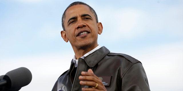 FILE: Nov. 1, 2012: President Barack Obama speaks at Austin Straubel International Airport in Green Bay, Wis.