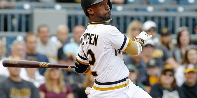PITTSBURGH, PA - SEPTEM BER 13: Andrew McCutchen #22 of the Pittsburgh Pirates in action during the game against the Milwaukee Brewers at PNC Park on September 13, 2015 in Pittsburgh, Pennsylvania. (Photo by Justin K. Aller/Getty Images)