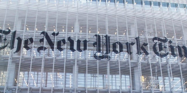 The facade of the New York Times building is seen in New York. (REUTERS)