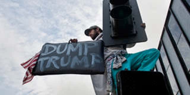 Protester with 'Dump Trump' sign in Los Angeles.