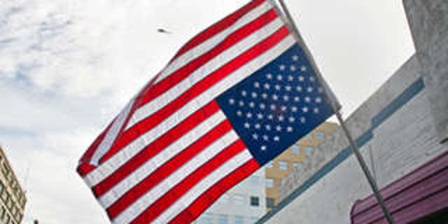 Upside down American flag seen in protests in LA.