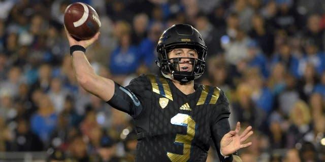Nov 14, 2015; Pasadena, CA, USA; UCLA Bruins quarterback Josh Rosen (3) throws a pass against the Washington State Cougars in a NCAA football game at Rose Bowl. Mandatory Credit: Kirby Lee-USA TODAY Sports