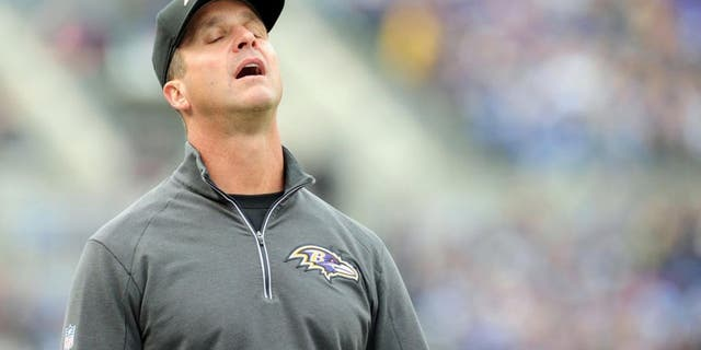 Nov 1, 2015; Baltimore, MD, USA; Baltimore Ravens head coach John Harbaugh reacts after a penalty in the second quarter against the San Diego Chargers at M&T Bank Stadium. Mandatory Credit: Evan Habeeb-USA TODAY Sports