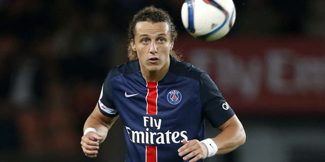 PARIS, FRANCE - SEPTEMBER 22: David Luiz of PSG in action during the French Ligue 1 match between Paris Saint-Germain FC (PSG) and EA Guingamp at Parc des Princes stadium on September 22, 2015 in Paris, France. (Photo by Jean Catuffe/Getty Images)