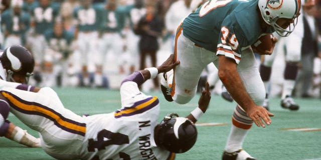 Larry Csonka was a key member of the '72 Dolphins team. (Photo by Focus on Sport/Getty Images)