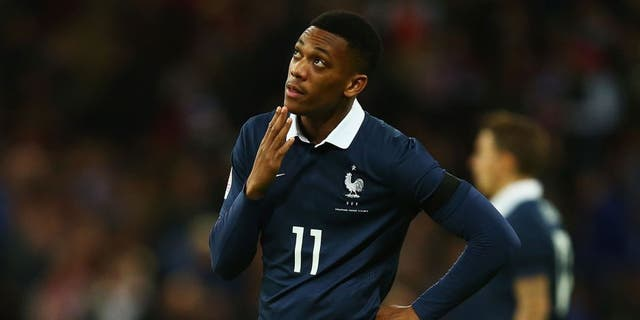 LONDON, ENGLAND - NOVEMBER 17: Anthony Martial of France looks on prior to the International Friendly match between England and France at Wembley Stadium on November 17, 2015 in London, England. (Photo by Clive Rose/Getty Images)