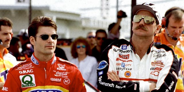 1996: Jeff Gordon and Dale Earnhardt before a NASCAR Cup race. (Photo by ISC Images & Archives via Getty Images)