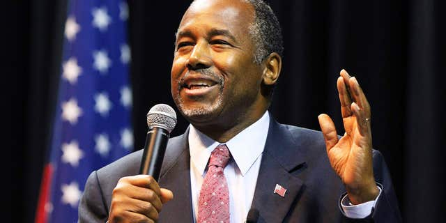 Nov. 19, 2015: Republican presidential candidate Ben Carson addresses supporters during a campaign stop in Mobile, Ala.