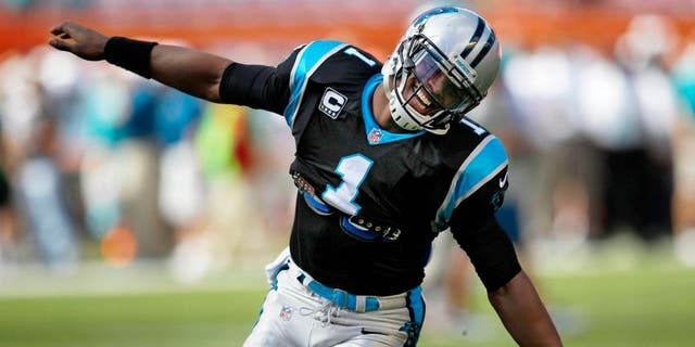Nov 24, 2013; Miami Gardens, FL, USA; Carolina Panthers quarterback Cam Newton (1) before playing against the Miami Dolphins at Sun Life Stadium. Mandatory Credit: Robert Mayer-USA TODAY Sports
