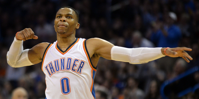 Nov 26, 2016; Oklahoma City, OK, USA; Oklahoma City Thunder guard Russell Westbrook (0) reacts after a play against the Detroit Pistons during the second quarter at Chesapeake Energy Arena. Mandatory Credit: Mark D. Smith-USA TODAY Sports