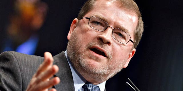 Feb. 11, 2012: Anti-tax activist Grover Norquist, president of Americans for Tax Reform, addresses the Conservative Political Action Conference (CPAC) in Washington.