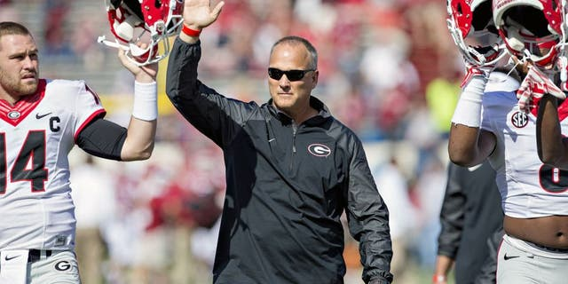 LITTLE ROCK, AR - OCTOBER 18: Head Coach Mark Richt of the Georgia Bulldogs before a game against the Arkansas Razorbacks at War Memorial Stadium on October 18, 2014 in Little Rock, Arkansas. The Bulldogs defeated the Razorbacks 45-32. (Photo by Wesley Hitt/Getty Images)
