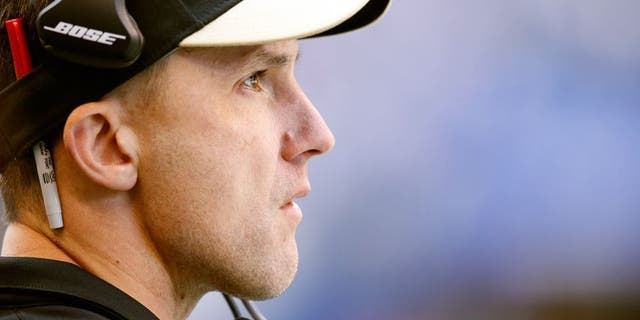 INDIANAPOLIS, IN - OCTOBER 25: Senior defensive assistant Dennis Allen of the New Orleans Saints looks on against the Indianapolis Colts during a game at Lucas Oil Stadium on October 25, 2015 in Indianapolis, Indiana. The Saints defeated the Colts 27-21. (Photo by Joe Robbins/Getty Images)