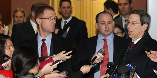 January 17, 2012: Robert Einhorn, U.S. State Department's special adviser for nonproliferation and arms control, right, talks to the media after meeting with South Korean Deputy Foreign Minister Kim Jae-shin at the Foreign Ministry in Seoul, South Korea.