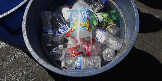 Plastic bottles brought in for recycling are seen at a recycling center in Sacramento, Calif.