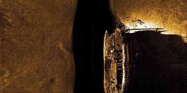In a Sept. 9, 2014 image provided by Parks Canada, HMS Erebus is pictured on a sonar scan in the Queen Maud Gulf in Nunavut.
