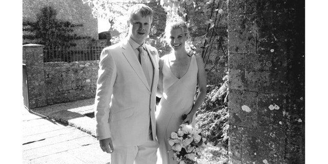 Julie and Luke Montagu on their wedding day.