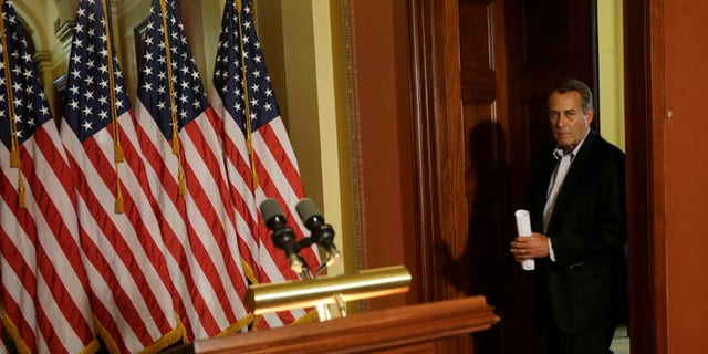 Dec. 7, 2012: House Speaker John Boehner of Ohio arrives for a news conference on Capitol Hill in Washington.