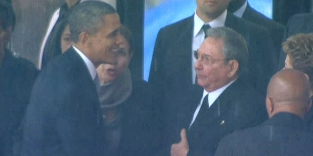 Former President Obama was heavily criticized in the past for shaking hands with Castro in 2013 at Nelson Mandela's memorial service.