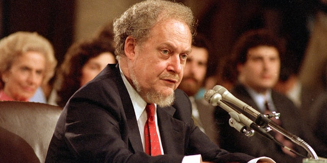 U.S. Supreme Court nominee Robert H. Bork testifies before the Senate Judiciary Committee during his confirmation hearings on Capitol Hill, Sept. 16, 1987. (Associated Press)