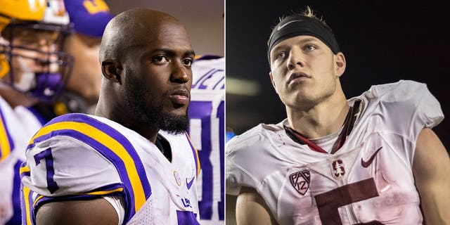 FAYETTEVILLE, AR - NOVEMBER 12: Leonard Fournette #7 of the LSU Tigers on the sidelines during a game against the Arkansas Razorbacks at Razorback Stadium on November 12, 2016 in Fayetteville, Arkansas. The Tigers defeated the Razorbacks 38-10. (Photo by Wesley Hitt/Getty Images) BERKELEY, CA - NOVEMBER 19: Christian McCaffrey #19 of the Stanford Cardinal plays in the 119th Big Game between Stanford and California on November 19, 2016 at Memorial Stadium in Berkeley, California. (Photo by David Madison/Getty Images)