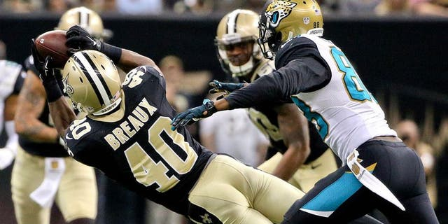 Dec 27, 2015; New Orleans, LA, USA; New Orleans Saints cornerback Delvin Breaux (40) intercepts a pass in front of Jacksonville Jaguars wide receiver Allen Hurns (88) during the second quarter of a game at the Mercedes-Benz Superdome. Mandatory Credit: Derick E. Hingle-USA TODAY Sports