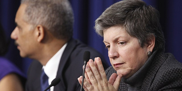 Dec. 14: Attorney General Eric Holder,, left, and Homeland Security Secretary Janet Napolitano attend a forum on intellectual property theft at the Eisenhower Executive Office Building across from the White House in Washington.