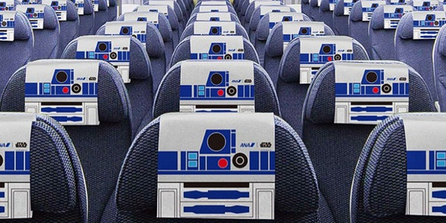 The interior of the aircraft is decorated like the robot companion.