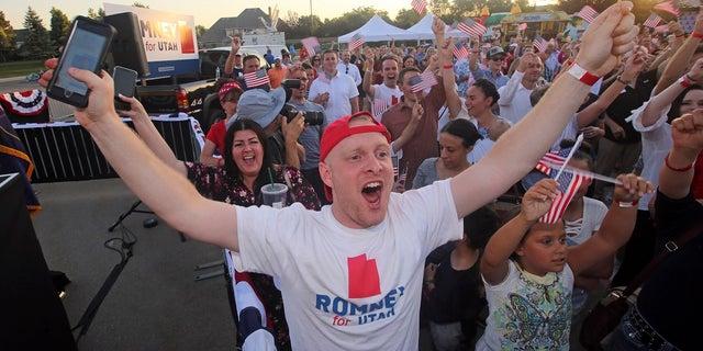 Mitt Romney supporters in Utah.