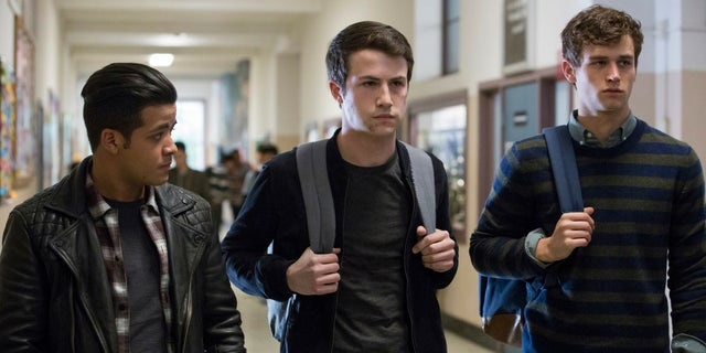 "From left, Christian Navarro, Dylan Minnette and Brandon Flynn of Netflix's ""13 Reasons Why."""