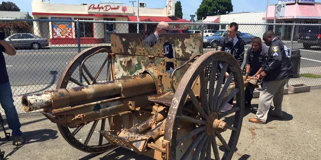 This World War I-era cannon was stolen last month from the Veterans Memorial Hall in Richmond, Calif.