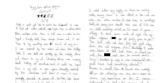 The hand-written review.