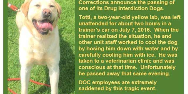 The Pennsylvania Department of Corrections posted a notice about Totti's death to its Facebook page.