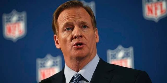 Sept. 19, 2014: National Football League (NFL) Commissioner Roger Goodell speaks at a news conference to address domestic violence issues and the NFL's Personal Conduct Policy, in New York.