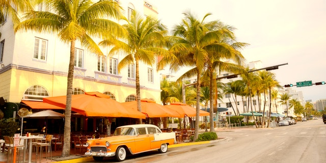 Vintage Car in Ocean Drive, Miami Beach, Florida, USA.