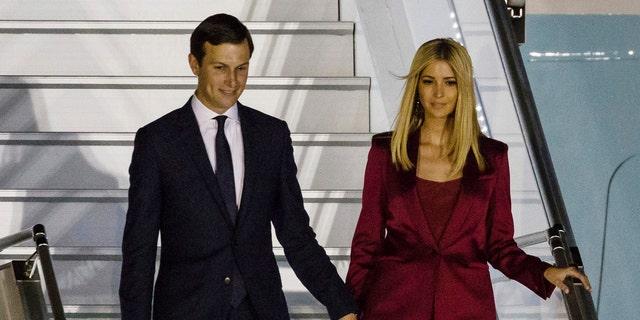 Jared Kushner and his wife, Ivanka Trump, arrive in Warsaw, Poland, July 5, 2017.