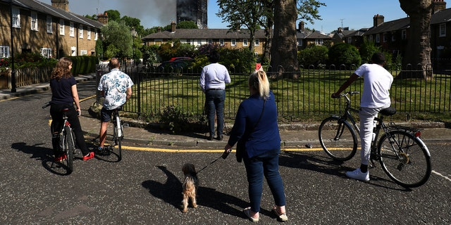 People look at smoke billowing from a tower block severly damaged by a serious fire, in north Kensington, West London, Britain June 14, 2017. REUTERS/Toby Melville - RTS1704D