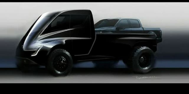 A likely humorous teaser rendering of a Tesla pickup based on its new Semi-tractor