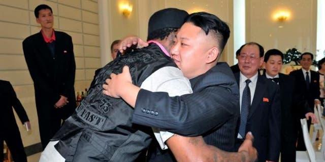 Dennis Rodman embraces Kim Jong Un during a visit to North Korea in 2013.  (KCNA via Reuters)