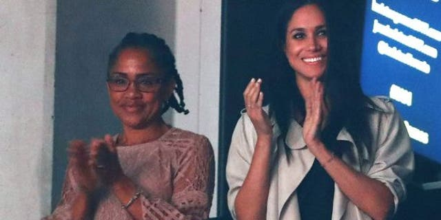 Meghan Markle watching the closing ceremony for the Invictus Games in Toronto, Ontario, Canada September 30, 2017 with her mother, Doria Radlan.