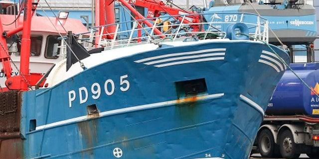 The bow of the Honeybourne 3 in dock following clashes with French fishermen on Tuesday.